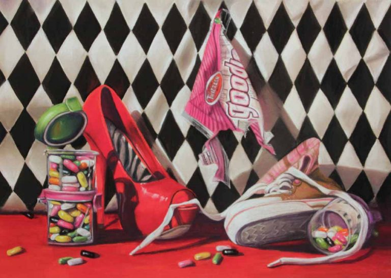 idiom painting with shoes and goodies candy