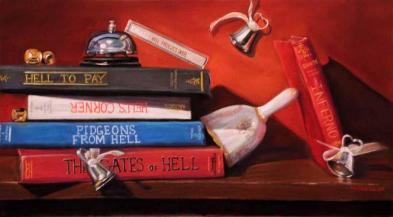 idiom painting of books with hell in title and bells