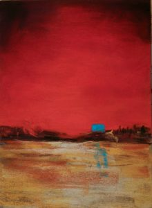 abstract painting of red sky with blue moon