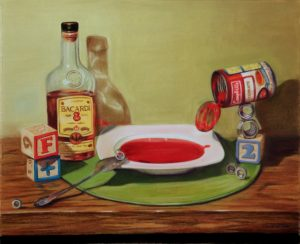 idiom painting of soup, nuts and rum