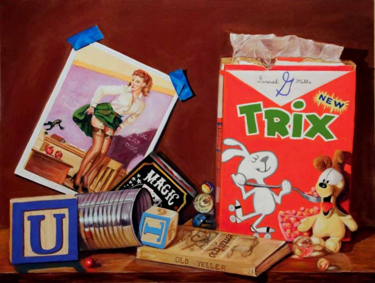 idiom painting of Trix cereal, teacher and dog
