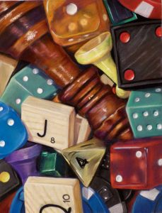 painting of chess pieces, dice, scabble tiles