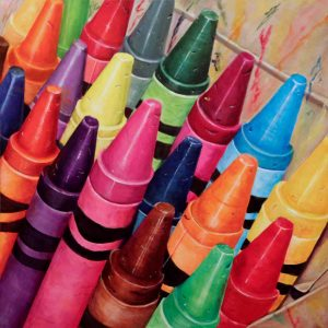 acrylic painting of crayola crayons