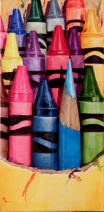 crayola craysons with one colored pencil