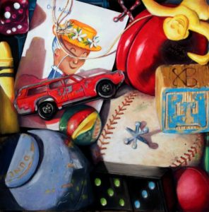 old maid, baseball, yoyo, dominos painting