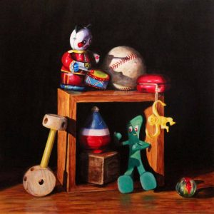 acrylic painting of toys