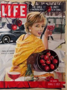 Trompe l'oeil painting of woman and a bowl of cherries