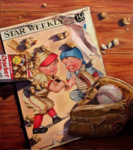 Trompe l'oeil painting of star magazine and baseball references