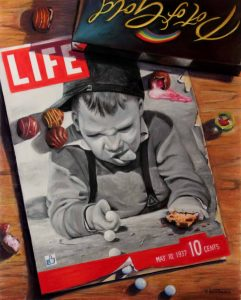 Trompe l'oeil painting of lige magazine and chocolate box
