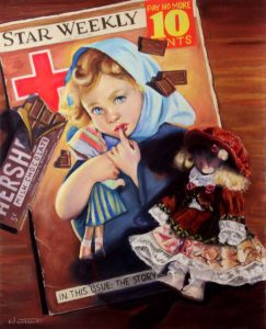 star magazine with girl and doll
