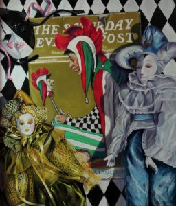 pastel painting with harlequin dolls