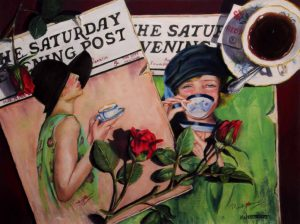 saturday evening post of women drinking tea painting