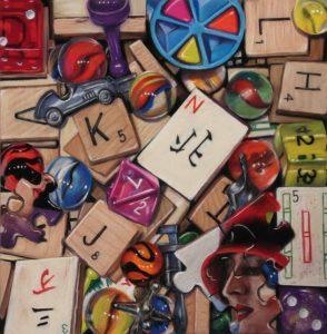 scrabble tiles, marbles, mah-jong tiles, monopoly pieces