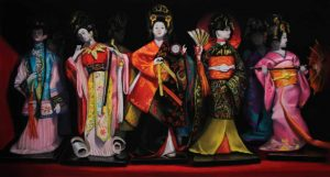 pastel painting of geisha dolls