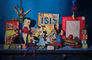 pastel painting with betty boop, and old toys