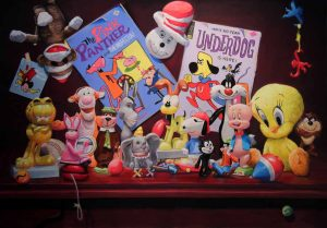 all sorts of animal cartoon characters like under dog, cat in the hat and tweety bird