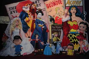 large pastel painting with femail comic book characters like wonder woman and barbie