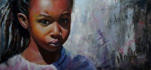 pastel painting of young girl