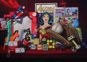 superman and wonder woman painting with toys