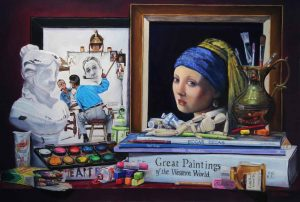 norman rockwell and girl with pearl earring with art supplies
