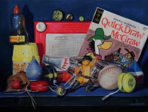 pastel painting with Pepsi bottle and toys