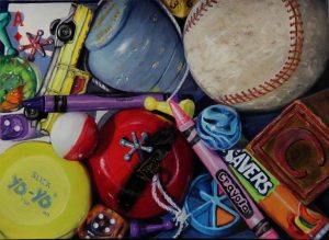 yoyo, baseball, tops, life savers painting