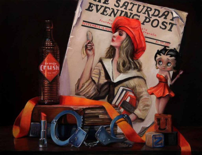 saturday eveing post magazine with betty boop and old orange crush bottle