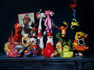 toy painting of animal cartoon characters like pink panther