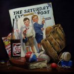pastel painting of saturday evening post, pepsi bottle and baseball