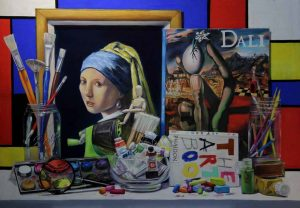 girl with pearl earring, dali painting, mondrian
