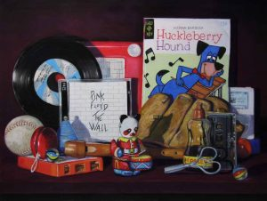 pastel painting with 8 track, cassettes and records
