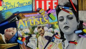 pastel painting with different magazines and pastels