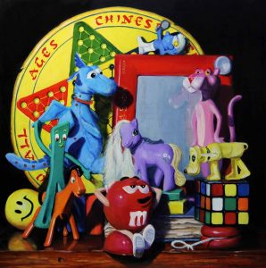acrylic painting with games and toys in vibrant colors