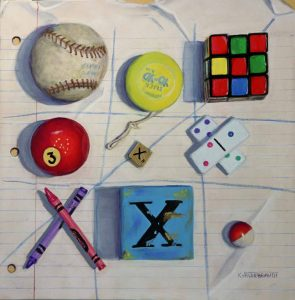 Trompe l'oeil painting of an X and O game