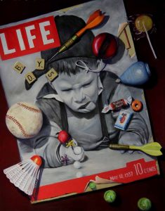 Trompe l'oeil painting of life magazine, basball and top
