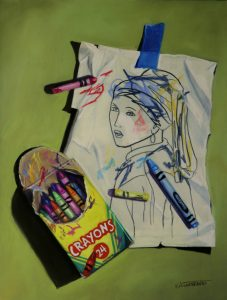 Trompe l'oeil of girl with pearl earring coloring book page