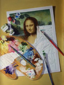 Trompe l'oeil of a Mona lisa paint by number