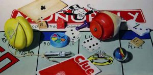 mixed media painting of monopoly board and toys