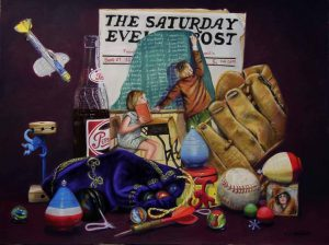 pastel painting with saturday evening post, pepsi bottle, baseball glove