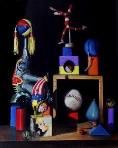 large acrylic painting of tin toys