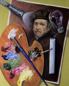 Trompe l'oeil painting of rembrandt