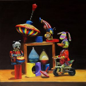 performing tin toys in acrylic