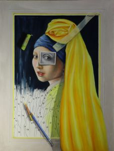 Trompe l'oeil painting of girl with pearl earring