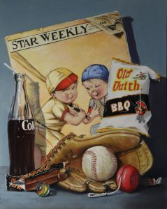 pastel painting of baseball and glove, coke bottle and junk food