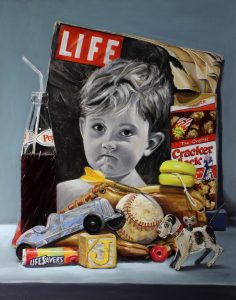 pastel painting, with life magazine and coke bottle