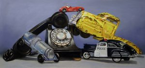 pastel painting of old telephone and cars